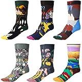 GuKKK Calcetines Estampados, 8 Pares Calcetines Hombres Mujer Divertidos, Calcetines Algodon Estampados Impresos de Pintura d