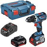 Bosch Professional GSR | GSB 18V 60C Perceuse-visseuse sans fil, 2x 5,0Ah Batterie Li-Ion, Maximum 60Nm, 13mm Mandrin de métal plein dans coffret L-Boxx, 1pièce, 06019G1100