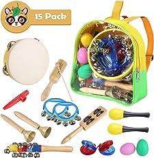 MVPOWER Musicali Giocattolo Strumenti Set per Bambini , Tamburi e Percussioni di  Giocattoli Musicali Educativi con Borsa per il Trasporto