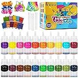 lenbest 20 Colores Tie Dye DIY Kit, 120 Ml Tinta Teñido Anudado para Teñir Telas, Kit de Pintura Textil de Tela de Ropa de Mo