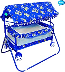 Avani Baby Crib and Cradle (Blue)