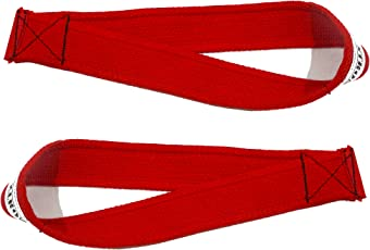 Be Strong Lifting Straps for olympic weightlifting,Powerlifting,Bodybuilding - Easy Loop stitched(rage red)