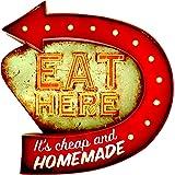 DiiliHiiri Panneau rétro Lumineux Restaurant Vintage en métal pour décoration (Eat Here)