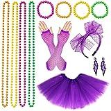 VSTON 80s Disfraz de Disfraces para Mujeres niñas Adultos 80 Vestidos para Mujeres, Accesorios de Fiesta, neón con Faldas tut