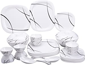 MEHUL CROCKERY Melamine 40 Pcs Dinner Set(5001, Black Stroke)