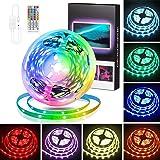 RGB LED Strip 5m, Swonuk LED Streifen mit IR Fernbedienung, TV Hintergrundbeleuchtung , RGB 5050 LED Lichter Sync Musik für S