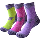 RedMaple 3 Pairs Camping Hiking Walking Socks for Women - Cushioned Comfortable Fitness Athletic Crew Socks for Outdoor Runni