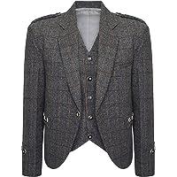 Star Leather Tweed Crail Highland Kilt Jacket and Waistcoat Scottish Check Grey Wedding Dress (44 Long)