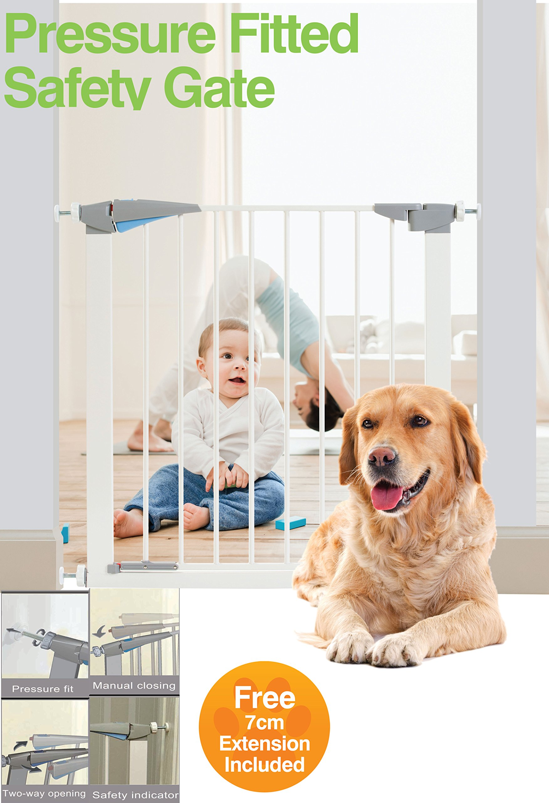Pressure Fitted Pet and Baby Safety Stair Gate with Free 7 cm Extension Included (Standard)  Can be used on stairways and doorways Fits opening from 72cm-79cm wide approx Includes 7cm side extension for wider opening ( 86cm wide Approx) 1
