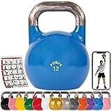POWRX Competition Kettlebell 4 – 48 kg in Studio-Qualität inkl. Workout   Wettkampf Kugelhantel Schwunghantel…