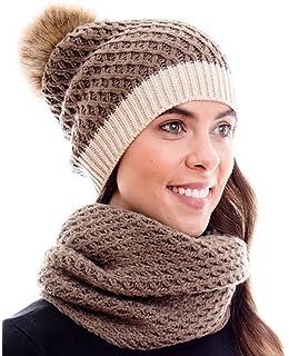 29caf092f1ec49 Hilltop Winter Kombi Set mit Damen Schal und passender Strick  Mütze/Bommelmütze mit Pompon in