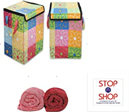 STOP N SHOP Nylon Laundry Bag for Clothes and Toys (Multicolour) - Set of 2