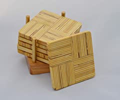 Plywood Set of 6 Coasters with solid Ash base