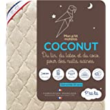 P'tit Lit - Matelas Bébé Coco Nut - 60x120 cm - 1 face Latex / 1 face Coco d'Origine Végétale - Lin : Naturellement Thermorég