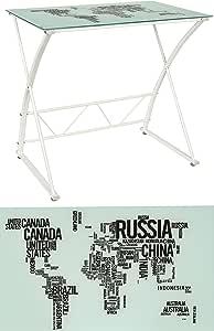 Tavolo da studio Scrittoio Tavolo d'appoggio Tavolino da salotto – bianco - rettangolare – 6 mm vetro di sicurezza – design MAPPAMONDO
