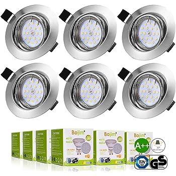 3255fa67cd130c Bojim 6x LED Spots Encastrables Orientable GU10 Lampe de plafond Blanc  Chaud Plafonnier Encastré 6W 600lm