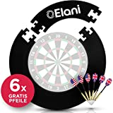 ELANI ® Dartscheibe Schutzring passgenau inkl. 6 Steeldarts und Zwischenring I Dart Surround Ring Wandschutz I Dart…