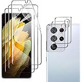 GEEMAI Compatible avec Samsung Galaxy S21 Ultra Protection écran 3 Pièces/Caméra Arrière Verre Trempé 2 Pièces, HD UltraTrans