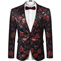 COOFANDY Men's Floral Tuxedo Suit Jacket Slim Fit Dinner Jacket Party Prom Wedding Blazer Jackets