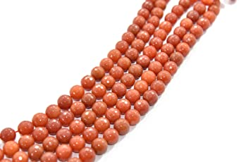 The Design Cart 12 mm Coral Red Jade Quartz Semi Precious Stones Pack of 1 String- for Jewellery Making, Beading & Craft.