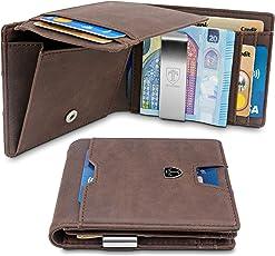 TRAVANDO Geldbeutel mit Geldklammer Brisbane Mit großem MÜNZFACH - 8 Kartenfächer - Schlankes Portemonnaie mit RFID Schutz - Geschenk Box - Designed in Germany (Braun)