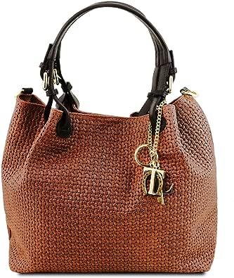 Tuscany Leather TL KeyLuck Borsa shopping in pelle stampa intrecciata