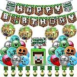 Decoraciones de Cumpleaños para Juegos para Niños Látex Globos de Píxeles Videojuegos Pancarta de Cumpleaños Adornos para Tar