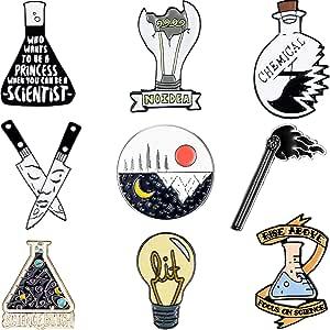 WILLBOND Set di Spilla Smaltata Cartone Animato da 9 Pezzi Spille per Badge Chimiche Set di Pin Scientifici Spilla Rotonda di Sole Luna per Amante della Scienza Festa Fisica a Tema Scienza