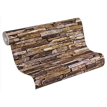A.S. Création Vliestapete Best Of Wood And Stone Tapete In Stein Optik  Fotorealistische Steintapete Naturstein 10,05 M X 0,53 M Beige Braun Gelb  Made In ...