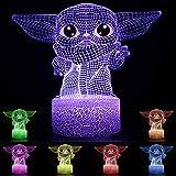 Baby Yoda Lámpara de mesa de ilusión 3D 7 colores Star Wars Luz nocturna Atmósfera de noche Luces para niños Regalos Decoraci