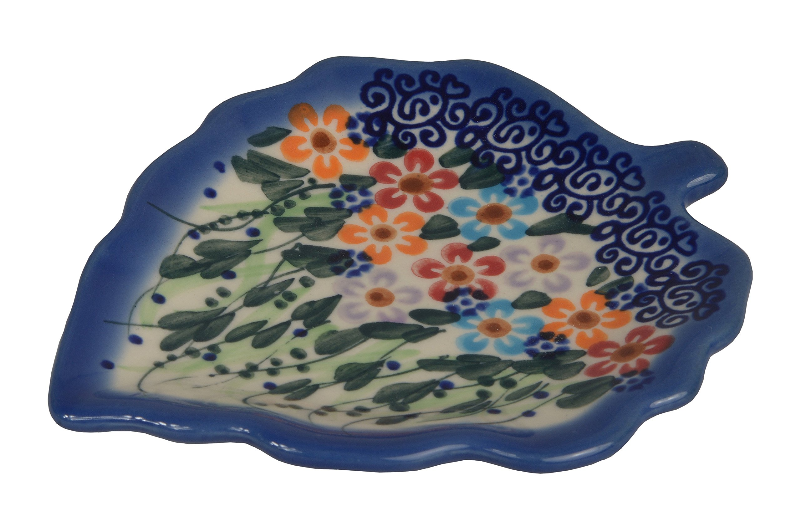 Traditional Polish Pottery, Handcrafted Ceramic Leaf-Shaped Tea Bag Coaster or Spoon Rest, L.12cm, Boleslawiec Style Pattern, H.401.Daisy