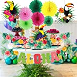 SaYaLa Tropisk rosa flamingo ananas festdekorationer kit, grattis på födelsedagsfesten, babyshower möhippa tema Moana Luau Ha