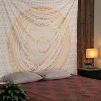 Laavie Cotton bedsheet bedcover for Double Bed with Pillow Cover of Queen Size for Bedroom, Mandala Tapestry Curtain…