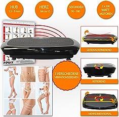 POWRX Vibrationsplatte Basic Duo inkl. Workout I Fitness Trainingsgerät inkl. Fernbedienung und Tubes Widerstandsbänder I Große Rutschfeste Fläche für Ganzkörper Training