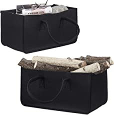 Kaminholztasche aus Filz, tragbarer Kaminholzkorb, Faltbare Filztasche, schwarz
