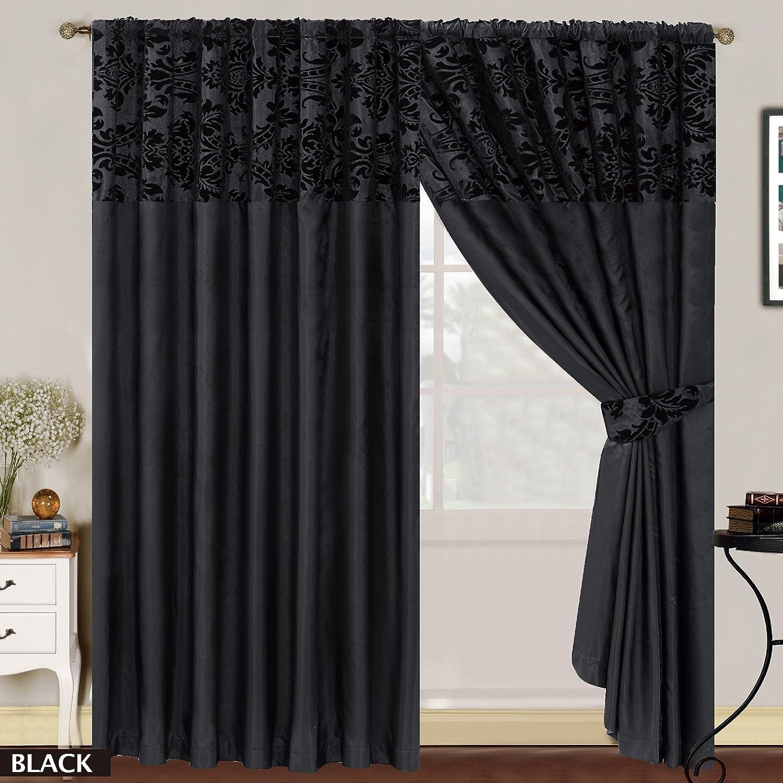 LUXURY Damask Curtains Pair Of Half Flock Pencil Pleat Window Curtain  Fusion(TM) (90x90, Black) By Fusion: Amazon.co.uk: Kitchen U0026 Home