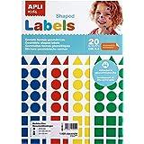 Apli KIDS 5151 - Pochette de 1 920 gommettes de diverses formes et couleurs - 20 feuilles Jaune/Bleu/Rouge/Vert triangles (20