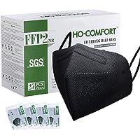 HO-COMFORT FFP2 Maske Schwarz CE Zertifiziert CE 0598 - Premium Qualität 5 Lagige Masken Einzelnverpackung Gesichtsmaske…