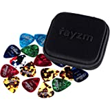 Rayzm Púas Pick Plectrums para guitarra 40 unidades con una caja resistente de almacenaje,Picks Premium de celuloide para gui