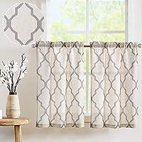 TOPICK Lot de 2 rideaux brise-bise semi-transparents - 65 x 60 cm - Gris