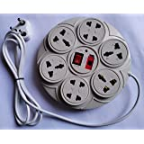 Round Extension Board 6 Amp 8+1 Universal Multi Plug Point  4 Three pin and 4 Two pin sockets  Extension Cord with LED…