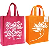 INDOZY Jute Bags for Women Men Girls boy Office Daily use | Tiffin Lunch Box Carry Bag with Zip |Reusable Eco Friendly Handba