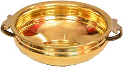 E-Handicrafts Pure Brass Bowl, 8.5x3-inch (8inur, Gold)
