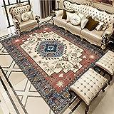 Medallion Area Rug Vintage Rug Traditional Carpet Floor Mat Non-slip Washable for Living Room Dining Room Bedroom Rectangle H