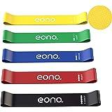 Amazon Brand - Eono - Bande Elastique Fitness Antidérapant Bande de Résistance Lot de 5 avec Sac de Transport Confortable à l