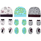 The Boo Boo Club Soft Cotton Newborn Baby caps Mittens and Socks Combo Set - Mix Print
