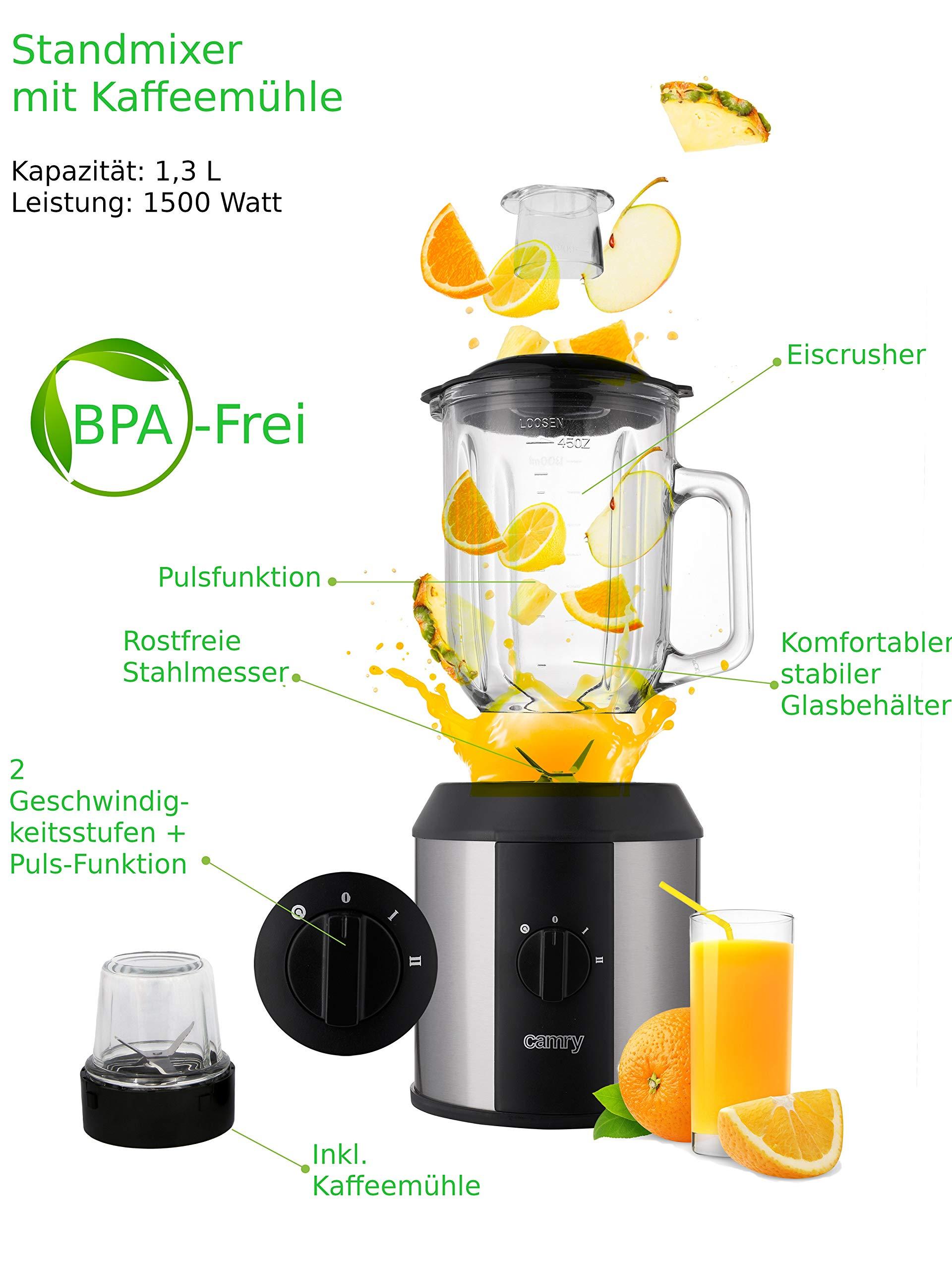 Standmixer-1500-Watt-Glas-Edelstahl-Smoothie-Maker-Mixer-Universal-Power-Mixer-13-Liter-4-Fach-Stahlmesser-Zerkleinerer-Eiwei-Shaker-Ice-Crusher-Eis-Crusher