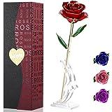 PREUP Rosa Eterna, Rosa 24K Regali per Lei, Regalo Fidanzata, Regalo per San Valentino, anniversario matrimonio,Festa Della D