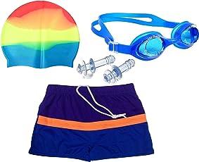 Bloomun Swimming Shorts Swim Trunks for Kids Boy Color Blue, Navy & Front Orange Border