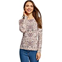 oodji Collection Donna T-Shirt con Maniche Lunghe